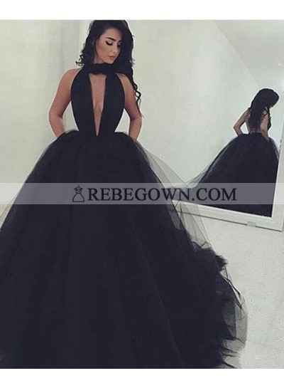 2020 Junoesque Black Gorgeous Deep V-Neck Ball Gown Tulle Prom Dresses
