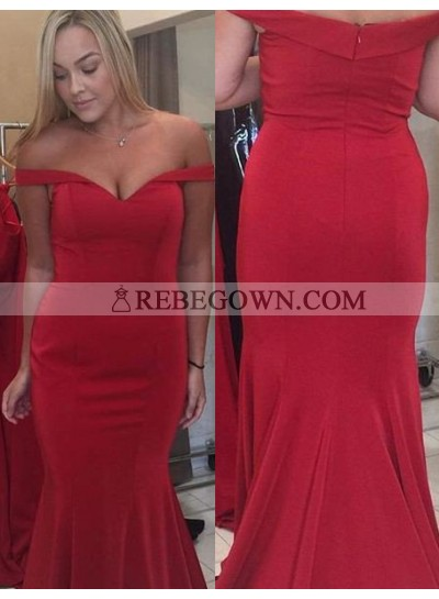 2020 Gorgeous Red Off-the-Shoulder Zipper Mermaid Prom Dresses