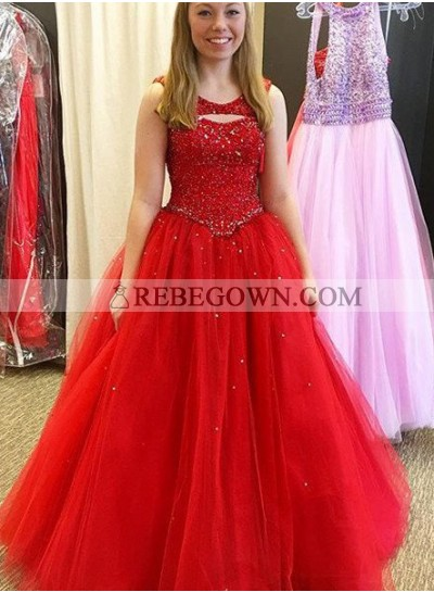 2021 Gorgeous Red Prom Dresses Round Neck Beading Tulle