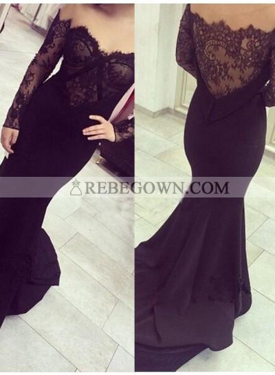 2021 Junoesque Black Off-the-Shoulder Lace Embellishment Mermaid Prom Dresses
