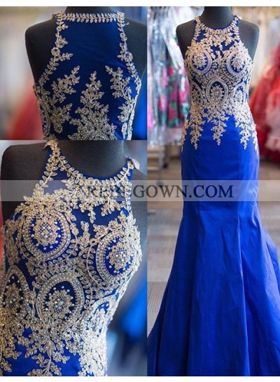 Appliques Mermaid Satin Prom Dresses Royal Blue