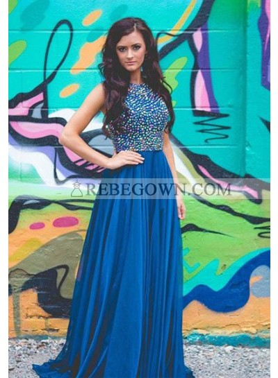 rebe gown 2021 Blue Beading A-Line Chiffon Prom Dresses