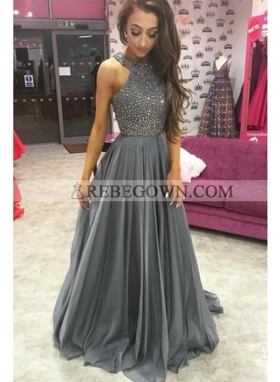 2020 Cheap Chiffon Princess/A-Line Beaded Silver Prom Dresses