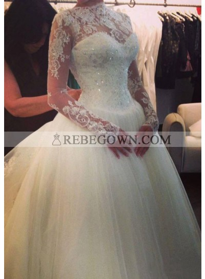 Ball Gown Sweep Train Beading Bateau Long Sleeves Tulle Wedding Bridal Gowns / Dresses
