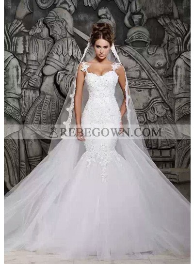 Tulle Mermaid  Applique Sweetheart Sweep Train Wedding Bridal Gowns / Dresses