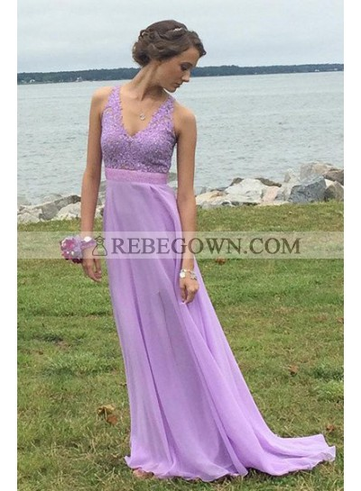 V-Neck Sleeveless A-Line Chiffon Prom Dresses