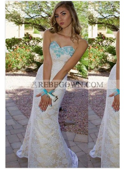 2020 Unique White Beading Sweetheart Mermaid Lace Prom Dresses