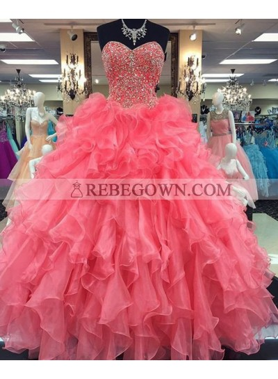 2020 Glamorous Pink Sweetheart Beading Ball Gown Organza Prom Dresses