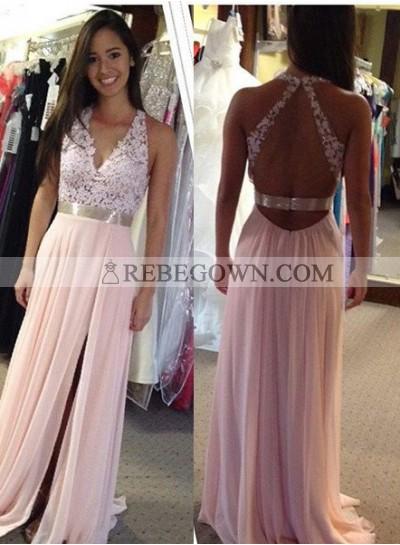 Halter Backless Appliques Split Front A-Line Chiffon Prom Dresses