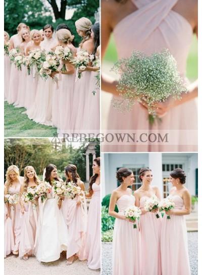 2020 Cheap A Line Blushing Pink Chiffon Long Bridesmaid Dresses / Gowns
