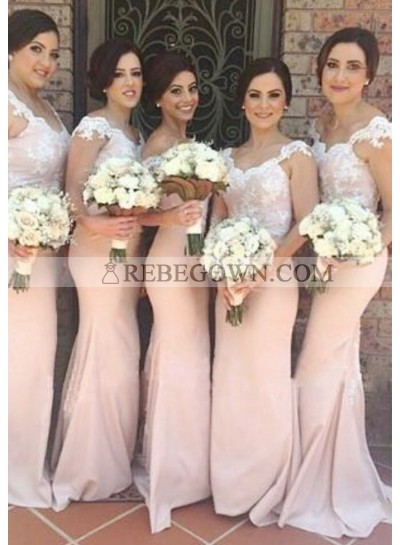 2020 Charming Mermaid  Pearl Pink Off The Shoulder Satin Lace Long Bridesmaid Dresses / Gowns