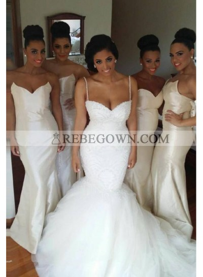 2020 Elegant Mermaid  White Satin Strapless Long Bridesmaid Dresses / Gowns
