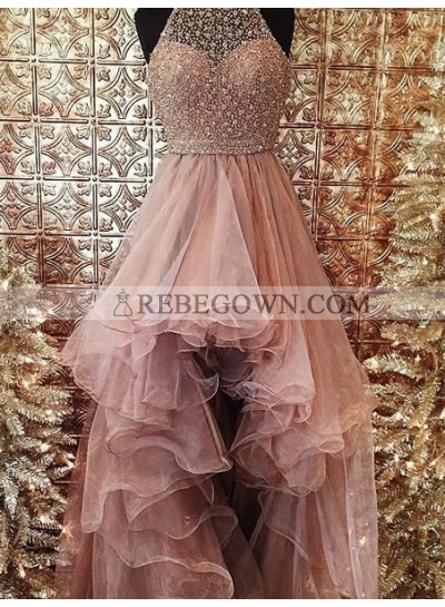 2021 Glamorous Pink Beading Layers Asymmetrical Tulle Prom Dresses