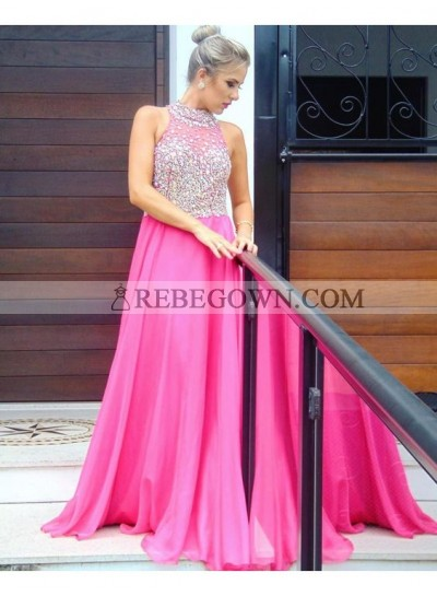 Chiffon Princess/A-Line Fuchsia Beaded Prom Dresses