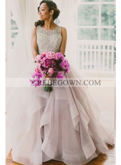 2021 A-Line Dusty Rose Layers Scoop Neck Prom Dresses