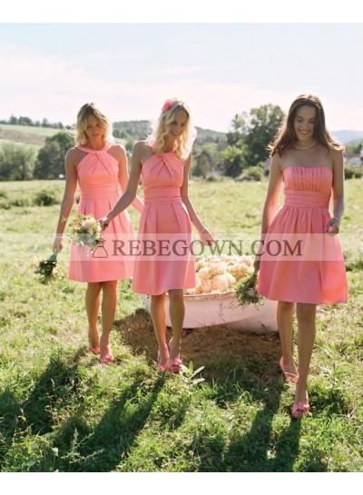 2020 Cheap A Line Satin Orange Halter Knee Length Bridesmaid Dresses / Gowns