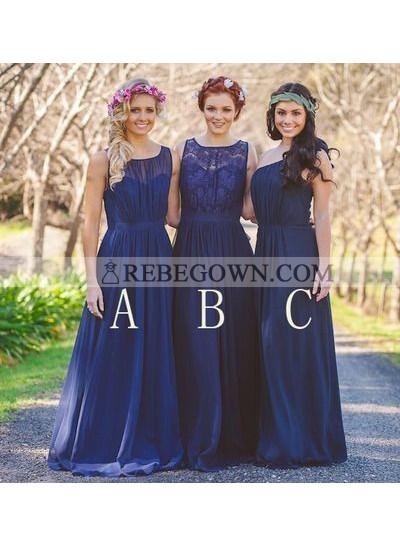 2020 Cheap A Line Chiffon Royal Blue Long Bridesmaid Dresses / Gowns
