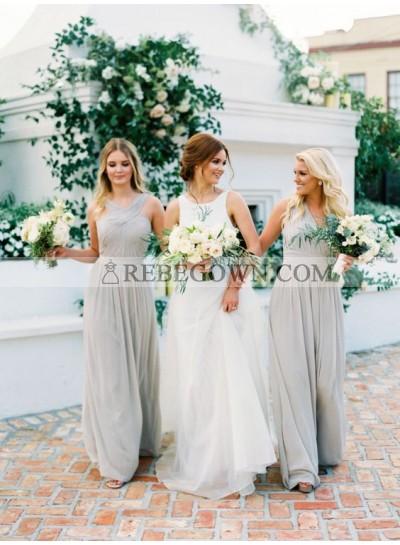 2020 Cheap A Line Silver Halter Chiffon Long Bridesmaid Dresses / Gowns