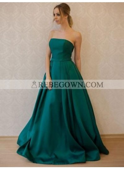 Simple Princess/A-Line Satin Strapless Teal Long Prom Dresses