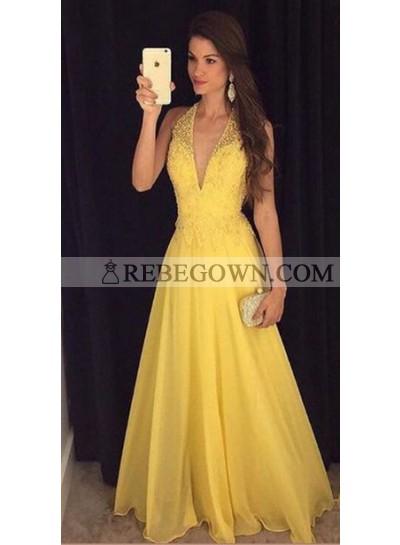 2021 Elegant Princess/A-Line Chiffon V-neck Daffodil Prom Dresses
