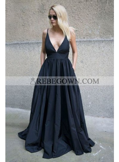 2021 Siren Princess/A-Line Satin Sweetheart Prom Dresses Black