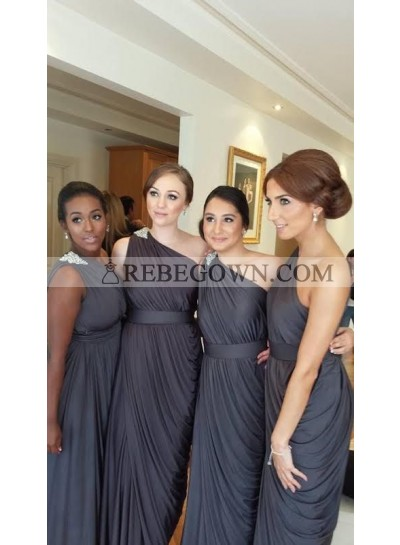2020 Newly A Line One Shoulder Light Slate Gray Chiffon Bridesmaid Dresses / Gowns