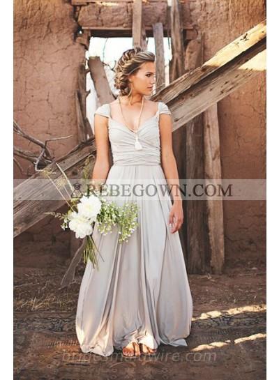 2020 Cheap A Line Chiffon Silver Sweetheart Floor Length Bridesmaid Dresses / Gowns