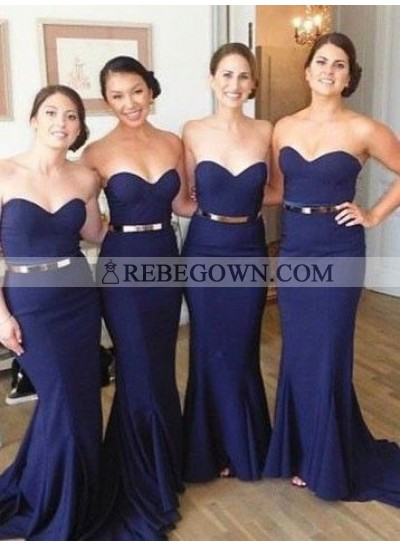 2020 Cheap Mermaid  Dark Navy Sweetheart With Belt Long Bridesmaid Dresses / Gowns