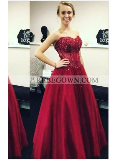 2021 Gorgeous Red Appliques Sweetheart Ball Gown Satin Prom Dresses