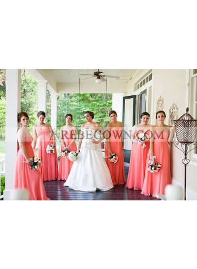 2020 Cheap A Line Chiffon Water Melon Strapless Long Bridesmaid Dresses / Gowns
