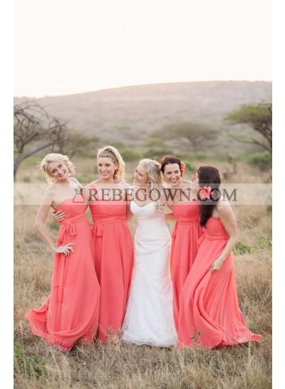 2020 Cheap A Line Water Melon Chiffon Strapless Long Bridesmaid Dresses / Gowns