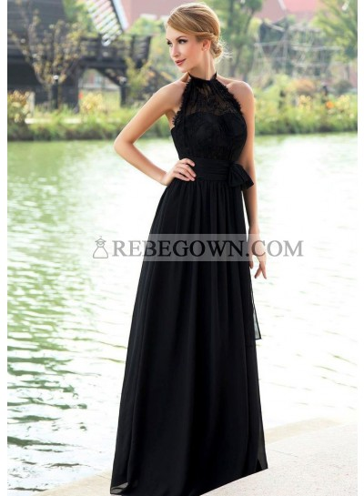 2021 Elegant A Line Black Chiffon High Neck Lace Long Bridesmaid Dresses / Gowns