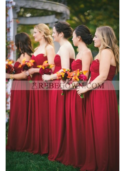 2020 Cheap A Line Red Strapless Long Chiffon Bridesmaid Dresses / Gowns