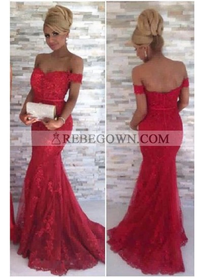 2021 Gorgeous Red Off-the-Shoulder Appliques Mermaid Tulle Prom Dresses