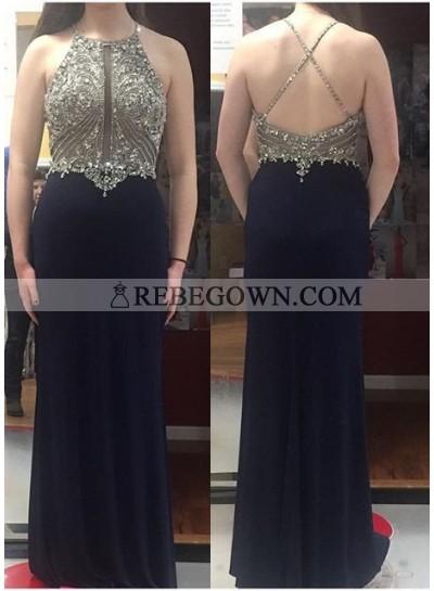 2020 Junoesque Black Criss Cross Backless Crystal Column/Sheath Prom Dresses