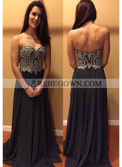2020 Junoesque Black Appliques Sweetheart Chiffon Prom Dresses