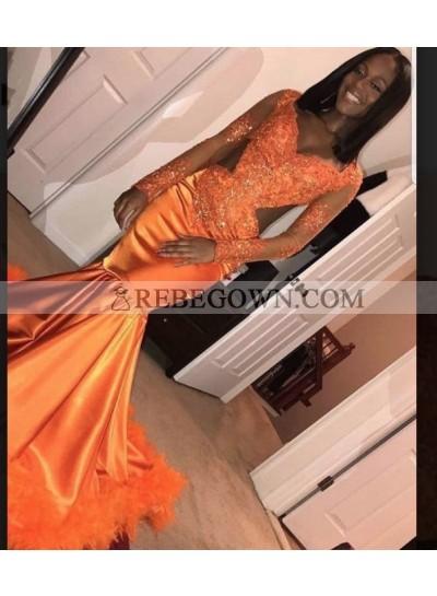 2021 Sexy Long Sleeve V-neck Satin Mermaid  Prom Dresses