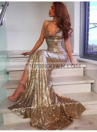 2021 Sexy Mermaid Sequence Gold Side Slit Prom Dresses