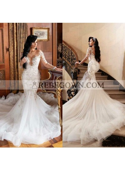 2021 V-neck Long Sleeves Lace Wedding Dresses