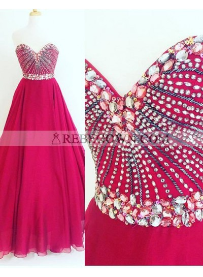 Crystal A-Line Chiffon Prom Dresses