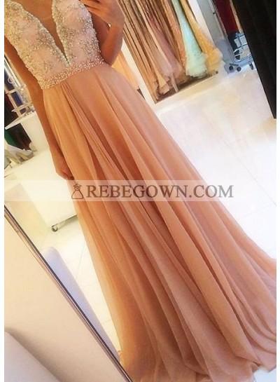 Beading Backless A-Line Chiffon Prom Dresses Champagne