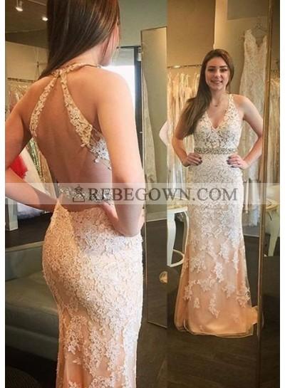 2021 Unique White Beading Appliques Halter Column/Sheath Tulle Prom Dresses