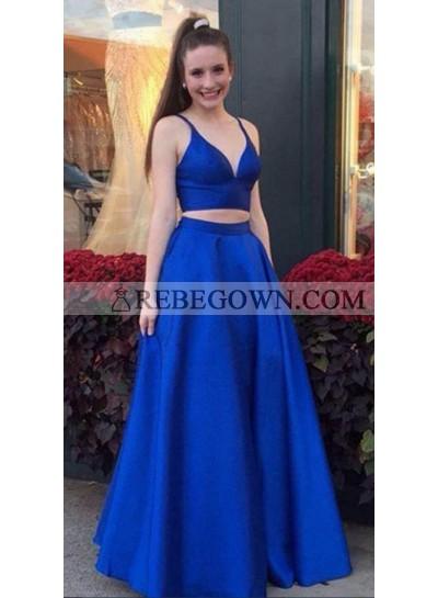 2021 Elegant Princess/A-Line Satin Royal Blue Two Pieces Prom Dresses