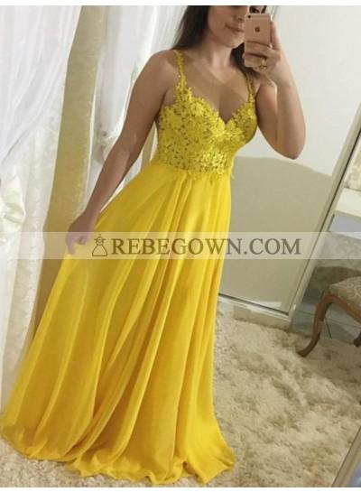 2021 Cheap Princess/A-Line Daffodil Chiffon Sweetheart Prom Dresses