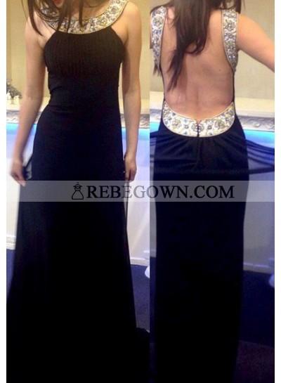 2020 Junoesque Black Open Back Beading Column/Sheath Chiffon Prom Dresses
