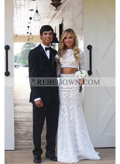 2020 Unique White Long Sleeve Mermaid Lace Two Pieces Prom Dresses