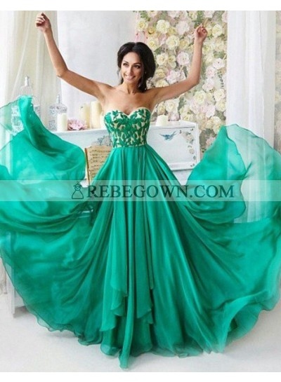 Embroidery Sweetheart A-Line Chiffon Prom Dresses