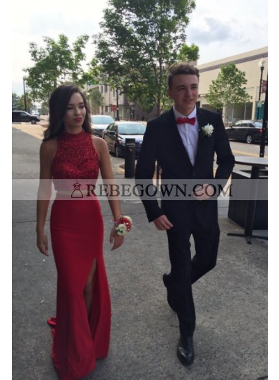 Red Column/Sheath Two Pieces Side Slit Prom Dresses