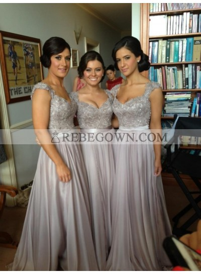 2020 Cheap A Line Grey Satin Beaded Long Bridesmaid Dresses / Gowns