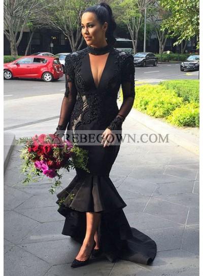 2021 Junoesque Black Puffy High-low Sheer Sleeves Mermaid Prom Dresses